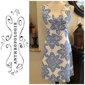 Eva Franco Anthropologie blue white dress